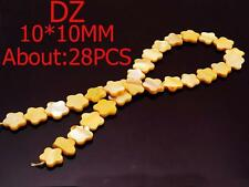 z008282 10mm Nature Sea Conch Shell Yellow Flower Loose Beads DIY Jewelry 28pcs