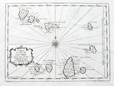 c1760 Kap Verde Kapverdische Inseln Cabo Verde Kupferstich-Landkarte Bellin