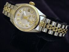 Rolex Datejust Ladies 2Tone 14K Gold & Stainless Steel Watch Silver Diamond 6917