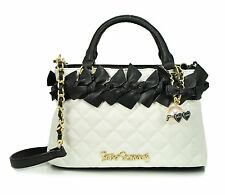 Betsey Johnson FAMILY TIES MINI SATCHEL BJ58500 BLACK/WHITE QUILTED, Xbody strap