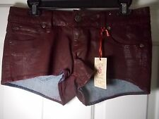 New Decree Juniors Red Burgundy Mini Hot Boyfriend Denim Shorts Size 7 - Cute!