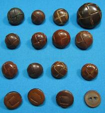 Vintage Brown and Black Leather Shank Button Mixed Size Lot of 16 Buttons