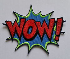 "NOVELTY CARTOON SUPERHERO ""ACTION BURST"" SEW ON / IRON ON PATCH:- WOW!"