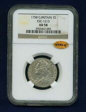 GREAT BRITAIN/ENGLAND GEORGE II 1758 SHILLING SILVER COIN, NGC CERTIFIED AU-58