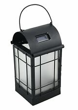 Moonrays 91176 Solar Powered Amber LED Black Arched Metal Lantern With Bracket