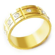 Shinning Womens Men's Yellow gold plated Clear CZ Band Ring Size 8