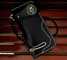 Handmade Genuine Leather Biker Men's Long Wallet with leather Chain Brass Gold