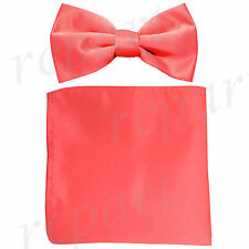 New formal men's pre tied Bow tie & Pocket Square Hankie solid coral wedding