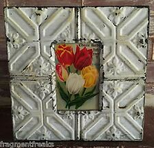 "Antique Ceiling Tin Picture Frame 4"" x 6"" *See our Salvage Videos* Ivory A3a"