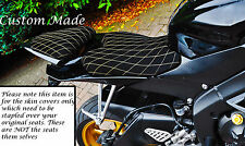 GOLD DIAMOND STITCH DESIGN CUSTOM FITS YAMAHA YZF 600 R6 08-14 SUEDE SEAT COVERS