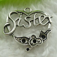 Free Ship 160 pieces tibet silver sister heart charms 25x24mm #1841