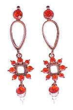 RUBY RED  ELEGANT DIAMANTÉ ENCRUSTED & DETAILED TEAR DROP EARRINGS (ZX52)