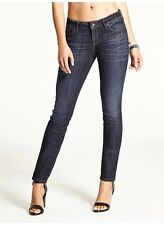 Guess Mid Rise Real Skinny Jeans In Dikens Wash Dark Blue Denim Size 23