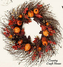 New Primitive Rustic LARGE PUMPKIN GOURD BERRY LEAVES Fall Grapevine Twig Wreath