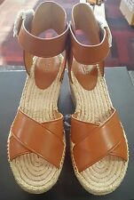 COACH Primrose Soft Veg Leather Espadrille Platform Wedge Shoes Size 6.5 M Q8421