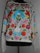 ESCADA SPORT Vintage Blouse Embroidered Flowers White Cotton Pink Orange Yellow