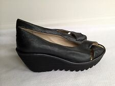 Fly London Yury Perf Wedge Pump Women's Size Black Leather  Leather 41