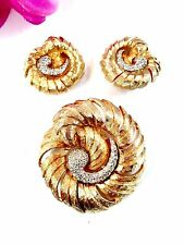 FAB JOSEPH MAZER JOMAZ GOLD-TONE CRYSTAL RHINESTONE SPIRAL BROOCH EARRINGS SET