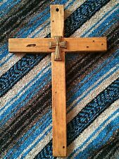"DooR WaLL CRoSS WooDeN ReCLaiMEd WooD MeXiCaN 3d CaST IRoN 18"" LaRGe MissiON"