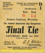 reproduction 1937 SUNDERLAND PRESTON NORTH END fa cup final ticket [RMT]