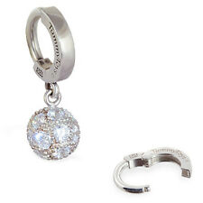 TummyToys Silver Pave CZ Disco Ball Belly Button Ring snap in sexy navel