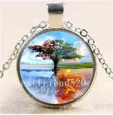 Element Tree Of Life Glass Cabochon Tibet Silver Chain Pendant Necklace#5781