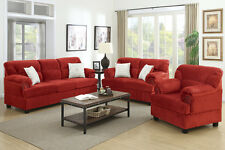 Sofa Set 3 Pcs Sofa Loveseat & Chair In Red Microfiber Living Room Furniture