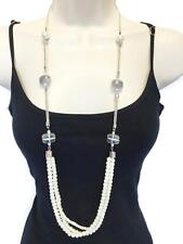 Beautiful Vintage Look Long Necklace Multi Layered Pearls Snake Chain Grey Beads