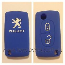 PEUGEOT 207 307 308 407 BLUE CAR COVER CASE HOLDER REMOTE SILCONE FOB FLIP KEY