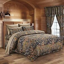 The Woods Queen Natural 7 Piece Bedding Set Comforter and Sheets Camoflague