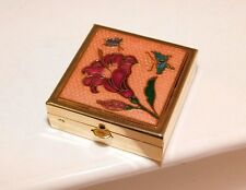 Cloisonne design Lilly Flower Butterfly divided lined Trinket Pill Box