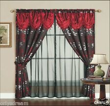 6 Pc.Victorian Style Jacquard Curtain 2 Panels Attached Valance & Liner-BURGUNDY