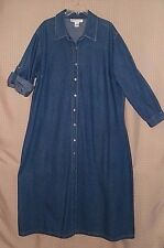 Mix Nouveau Women Jean Denim Maxi Dress / Coat Long Sleeves Size 24W FREE SHIP'N