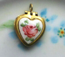 #515R Vintage Heart Locket Pendant Floral Guilloche Flowers Brass Rose Enamel