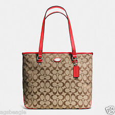 Coach Bag F36375 12cm Signature Zip Top Tote Cardinal Agsbeagle COD