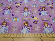 "1 Yard Sofia the First ""Princess in Training""  Fabric"
