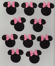 "Minnie Mouse w/rhinestone on pink bow die cuts - 3"" - set of 10"