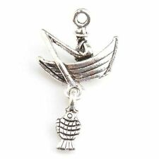 15x 143797 Hot Sell Sailing Boat & Fish Silver Alloy Jewelry Pendants 21x19x5mm