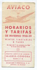 AVIACO TIMETABLE WINTER 1958/59 HORARIOS SPAIN