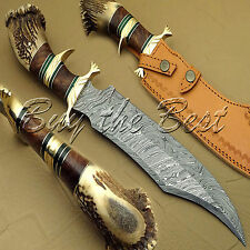 BEAUTIFUL CUSTOM HAND MADE DAMASCUS STEEL HUNTING BOWIE KNIFE WITH STAG END