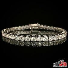 "14k White Gold Plated Simulated Diamond 1 Row Bracelet Mens Ladies Tennis 7"" Icy"