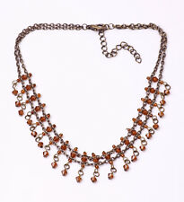 GLAMOROUS METAL CHAIN CHOKER ORANGE-BROWN BEADS TINY SPARKLY CHARMS (ZX26)