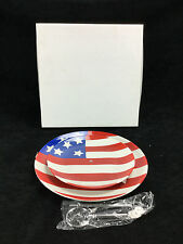 NIB Kitchen Worthy Two Tier Ceramic Snack Muffin Cupcake Holder Flag Design