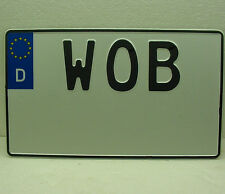 Volkswagen WOB wolfsburg license plate custom YOUR TEXT german square vw bug