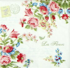 4x Single Table Party Paper Napkins for Decoupage Craft Vintage Le Jardin Secret