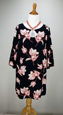 sz S OLD NAVY Tunic Dress Navy Blue Pink Floral Microfiber Career