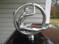 satan in rolling tire, speed demon, vintage devil ratrod, car hood ornament