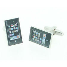 Black Smartphone Cufflinks With Gift Pouch Smart Phone Iphone Mobile Present New