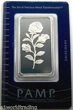 NEW PAMP SUISSE ROSE 1 OZ SILVER BAR SEALED .999 PURE