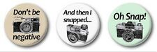 VINTAGE CAMERA COLLECTION  - 3 x 1 inch / 25mm Button Badges -  Cute Photography